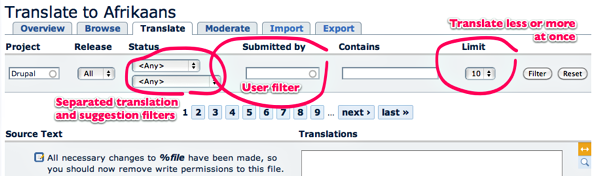 New filtering functionality